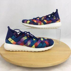 Nike Rainbow Woven Roshe Run Sneakers Womens 6